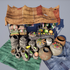 Collection of Market objects and Materials