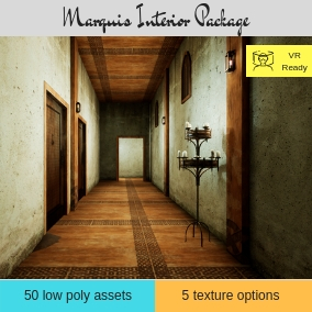Medieval inspired modular interior pack with low poly assets and props. Featuring AAA quality PBR textures. Featuring 5 texture options and 5 example scenes. A must have for any one working with anything medieval / fantasy.