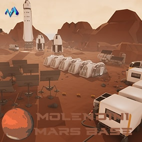 Stylized and modular Mars base extrior and interior