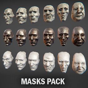 Masks package include six masks with 3 type of PBR materials