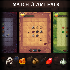 A complete set of graphical to build Match-3 game. All in high quality.