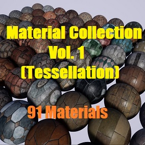 A pack of 91 PBR Materials (Tessellation)