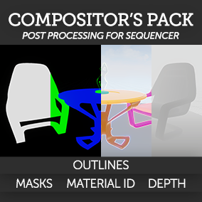 This package consists of four post-process materials used for exporting masks from the Sequencer for visual effects compositing and can also be adapted for stylistic effects.