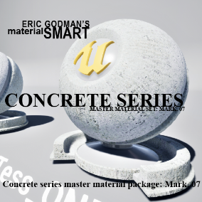 A Set of 19 smart master materials with high customization features for concrete/tile related material instances, featuring surface/roughness distortion, far-field normal map fall off, bump offset, and tessellation.