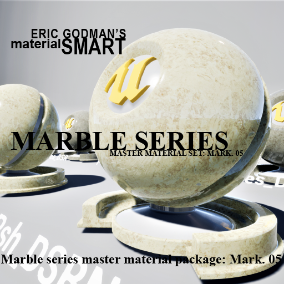 A Set of 32 smart master materials with high customization features for marble/polished stone related material instances, featuring mobile materials, distortion and desaturation options, far field fall-off options, bump offset, and tessellation.