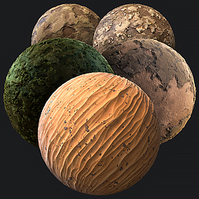 4096x4096 Stylish 5x Material Pack - Sand, Forest Muddy Moss, Martian Badrock, Rock Ground and Dry Ground.