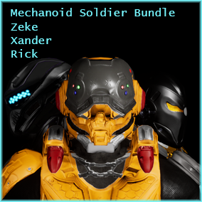 This bundle pack contains three of our top-selling characters, all themed around being mechanically enhanced, power-armor wearing, super soldiers. The pack contains Cyberneticist Zeke, SciFi Destroyer Xander, and SciFi Enforcer Rick.