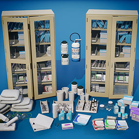 This pack includes 40 realistic medical props and equipment.