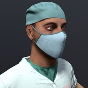 High quality model of a medical specialist. Photorealistic materials. The model is prepared for skinning and has baked textures