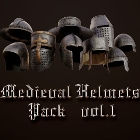 Rigged Realistic Hi-Quality Helmets for Medieval type games.