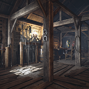 A scene located in medieval armory.
