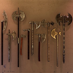 High Quality Medieval Axe Pack for FPS, RPG levels and games. Researched and based off authentic medieval reproductions.