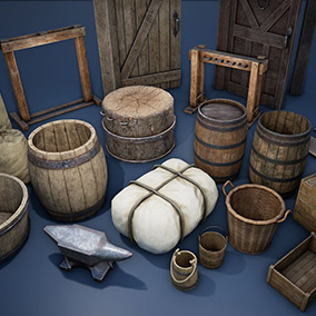 Medieval barrels, buckets, packages, boxes.