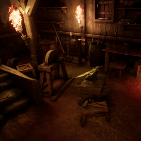 Medieval Blacksmith including tools, weapons, props and interior architecture. With this pack you'll have everything to create your blacksmith scene.