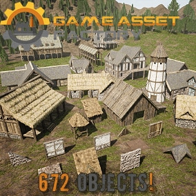 Build high quality realistic medieval villages with 47 pre-made buildings with interior, or build your own using 615 modular meshes.