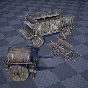 Set of 16 high quality medieval wagons and carts.
