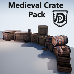 This set contains 9 high quality assets, ideal for a Medieval/Fantasy setting. It contains barrels, crates, fruit boxes a bucket.