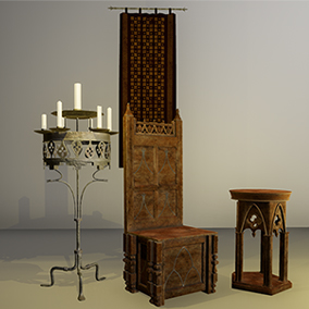 A pack of low poly Medieval themed assets for Your interior scenes.