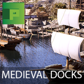 Medieval Docks features over 200 assets ready to fill your shoreline with walls, docks, boats, houses, vegetation and marketplace props.