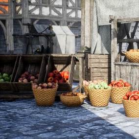 Medieval Market Square with Low Poly Modular Buildings