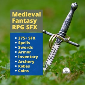 A collection of over 406 medieval sound effects for RPGs.