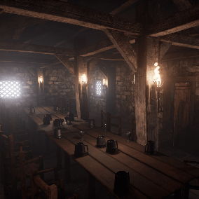 An internal Medieval Fantasy Tavern Environment featuring Architectural and Decorative Props and 4K Materials.