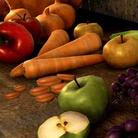 24 Game ready Medieval European fruits and vegetables and their pieces.