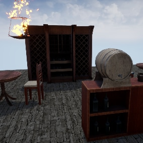A pack of furniture and lights for medieval houses and taverns.