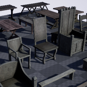 Set of 40 high quality models of medieval furniture.