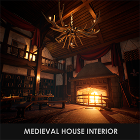 Modular medieval house interior asset kit with over 80 assets and fully built level