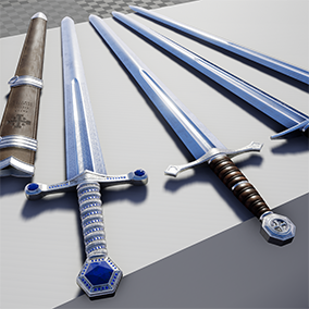 A set of four longswords and two scabbards in a medieval style, ranging from plain to ornate.