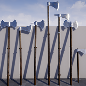 A set of seven medieval long axes in a realistic style
