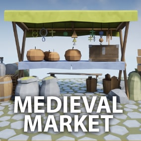 Low poly, stylized models set of a medieval market