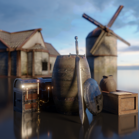 A complete pack of over 300 medieval props, weapons and buildings.