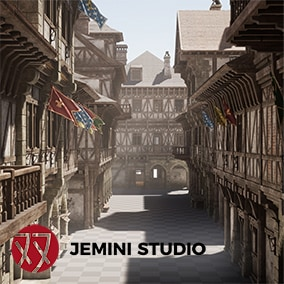 A set of Modular assets for recreating a medieval town.