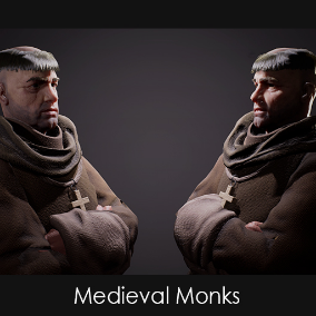 The Medieval Monks are based on the spiritual Characters of the big Modular Medieval NPC Characters packs.
