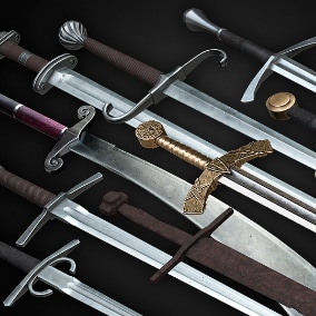 High-quality realistic low-poly 3D models of medieval one hand swords  with scabbard