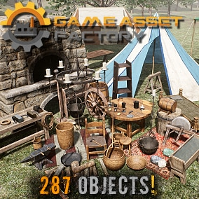 Medieval Props Pack includes 287 high-quality assets to populate your medieval projects
