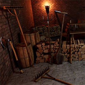 Contains realistic high quality PBR Farmer and Wood Cutter props and tools: axe, rake, shovel, wooden hoe, flail, greataxe, scythe, wooden chops, saw, trunk, stump, harrow, barrel, crate, shears, sickle, knife, pitchfork, and more. Also fits fantasy env.