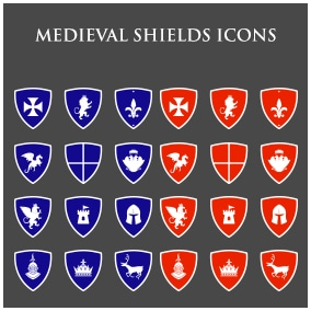 200+ medieval themed icons in two different colors and three types of formats.