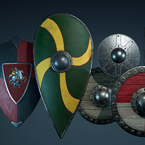 This package has the most common historically accurate medieval shields.