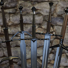 A set of 10 medieval straight swords.