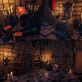 Contains High Quality Modular Medieval Stylized-Cartoon Fantasy Assets: Some Architectural Parts and Props as Walls, Floors, Roofs, Furniture's, Weapons, and so on.