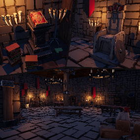 Contains High Quality Medieval Stylized Fantasy Assets: Some Architectural Parts and Props as Walls, Floors, Roofs, Furniture's, Weapons, and so on.
