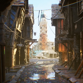 Medieval Town Street Environment Kit is set to create AAA quality game and VR/cinematic levels. It contains all needed tools such as architecture modules, props, realistic materials and material instances and details to set dress levels.