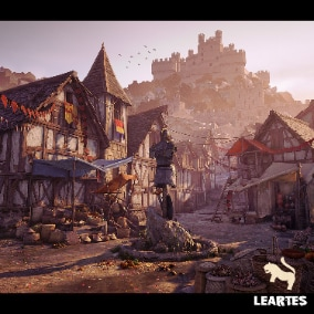 Medieval Village Environment Including Buildings , Props , Roads and All Showcased Meshes.