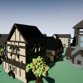 A set of unique voxel buildings.