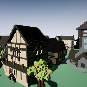 A set of unique voxel buildings.