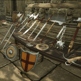 This weapons collection contains 22 AAA quality models of medieval weapons and shields with 4K PBR textures.