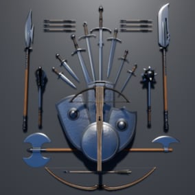 Complete collection of all my medieval weapons, includes swords, axes, maces, bows, spears, shields.. etc.